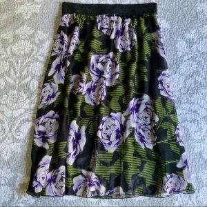 LuLaRoe Black Purple Floral Lola Midi Skirt